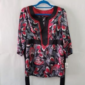 NWT Women's AGB Let It Shine Red Blouse